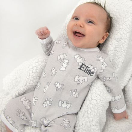 Personalised Elephant And Giraffe Baby Grow Set